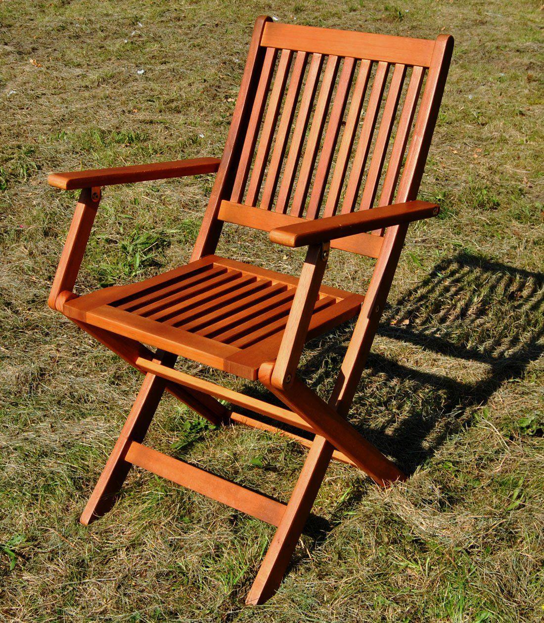 Klapp-Stuhl Aus Eukalyptusholz Mit Lehne Holzstuhl