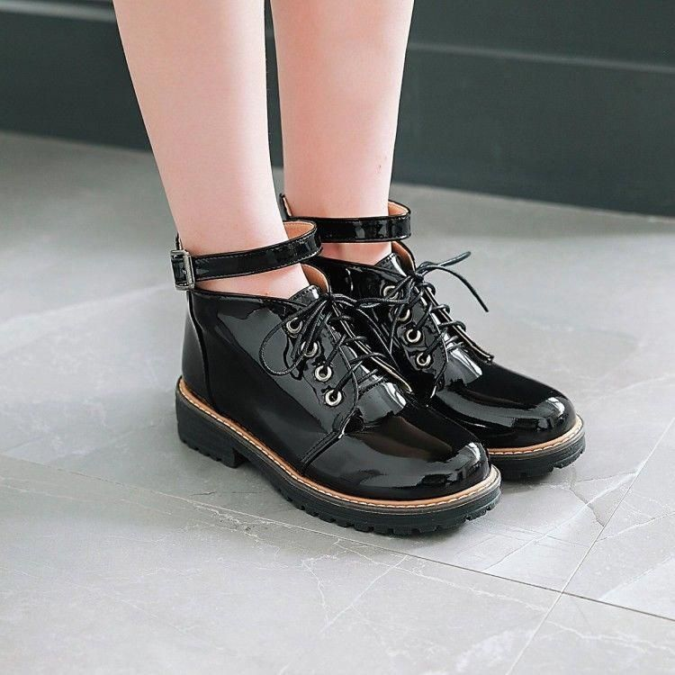 1ec006c11c49 Womens Punk Buckle Oxfords Flat Patent Leather Lace Up College Shoes Motor  Boots  fashion  clothing  shoes  accessories  womensshoes  boots (ebay link)    ...