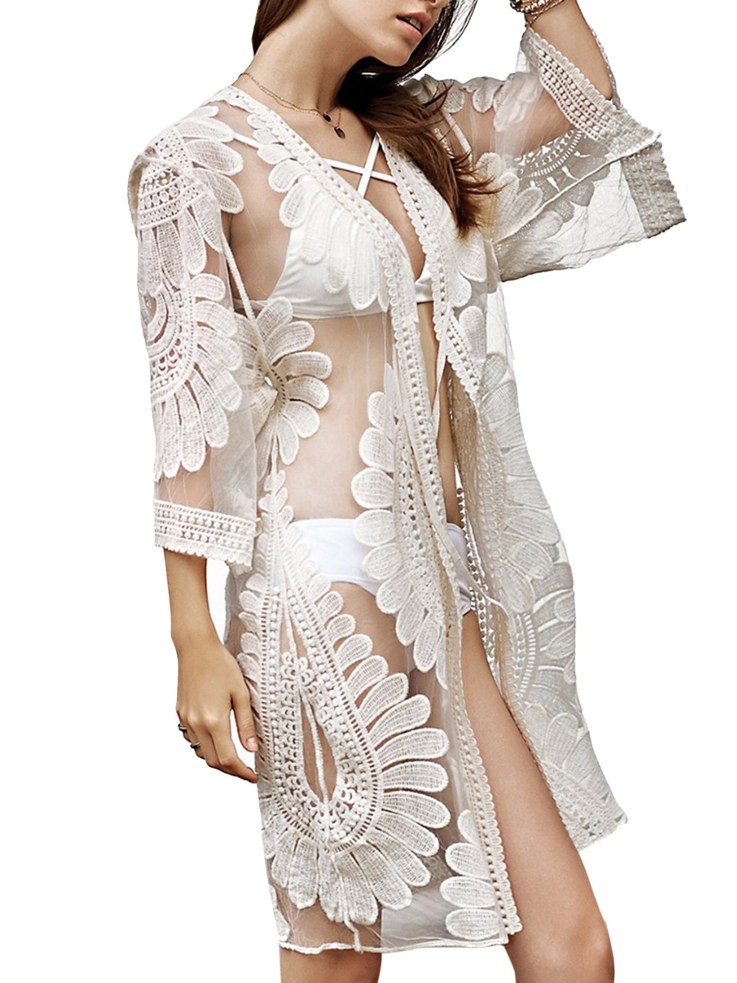 592db1abf9 Women Beach Cover Up Swimsuit Floral Lace Open Front Kimono Cardigan Beachwear  Summer Bathing Suit Swimwear Long Tops #Ad #Lace, #Affiliate, #Floral,  #Front