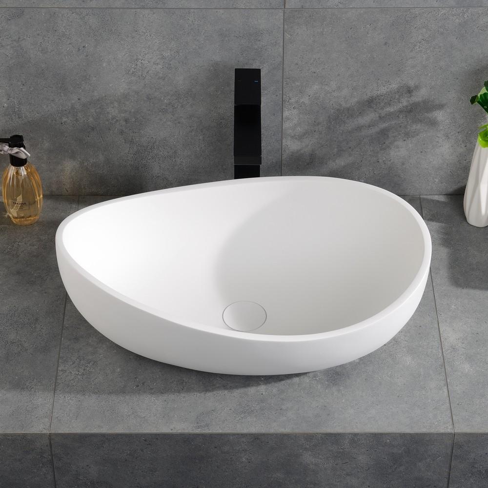 Bathroom Stone Resin Oval Vessel Sink Modern Art Sink Matte Glossy White With Pop Up Drain In 2020 White Vessel Sink Vessel Sink Sink