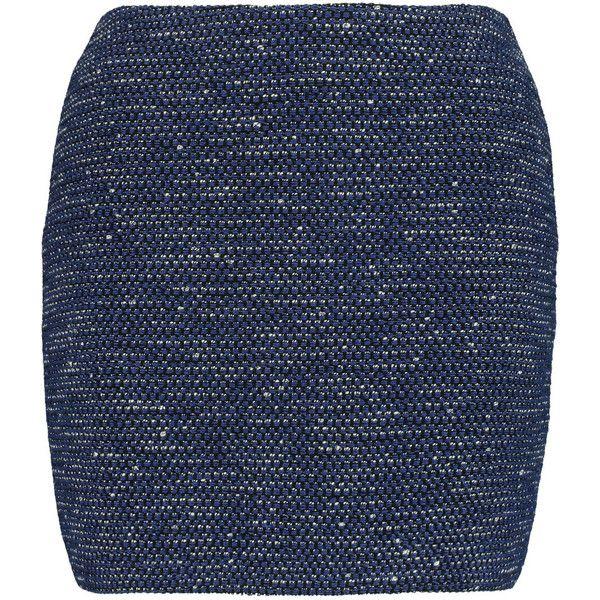 Alice + Olivia Elana metallic cotton-blend bouclé mini skirt featuring polyvore, women's fashion, clothing, skirts, mini skirts, navy, blue metallic skirt, short blue skirt, blue skirt, metallic skirt and mini skirt