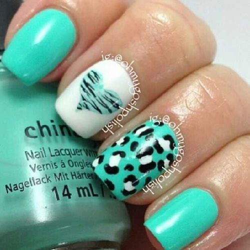 #Teal #Cheetah #Heart nail design - Teal #Cheetah #Heart Nail Design Beauty/ Nails Pinterest