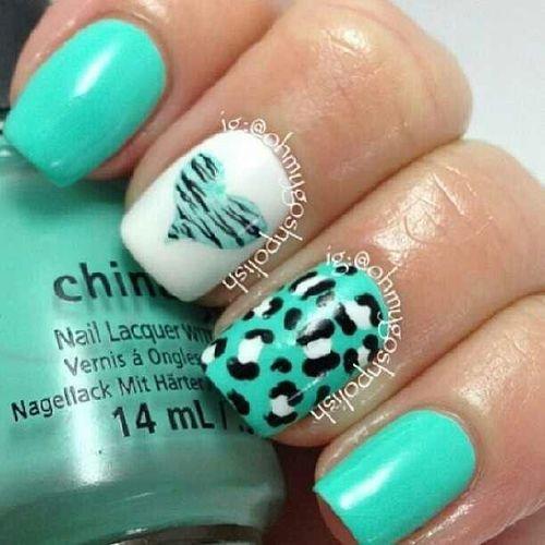#Teal #Cheetah #Heart nail design - Teal #Cheetah #Heart Nail Design Beauty/ Nails Pinterest