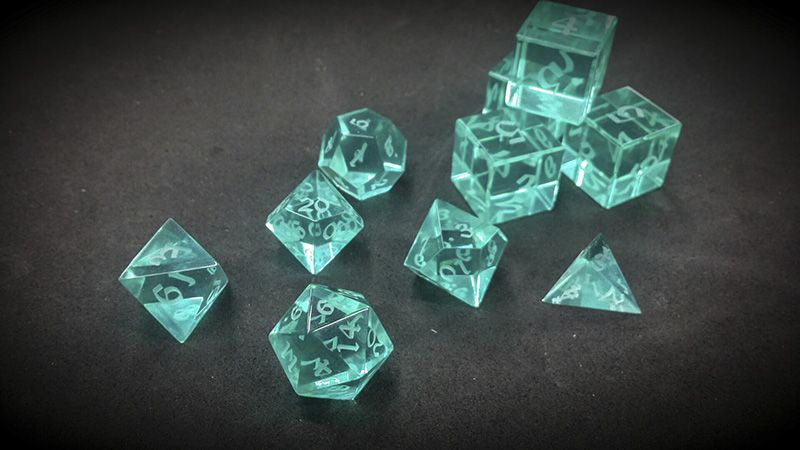 Optically Clear Acrylic (Aquus) « Artisan Dice10 Dice Polyhedral Set @ $171.00
