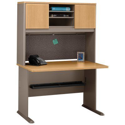 Bush A-Series 48 Inch Desk and Hutch in Light Oak and Sage by Bush