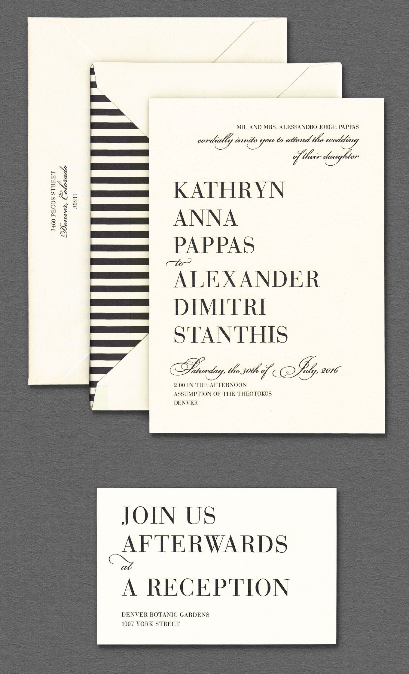 Vera Wang Oyster Wedding Invitation With Black And White Striped Envelope  Lining.