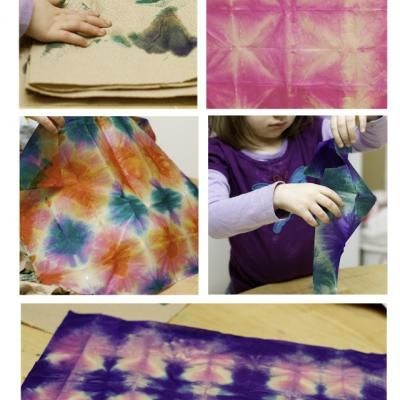 tissue paper tie-dye (good for kids too)