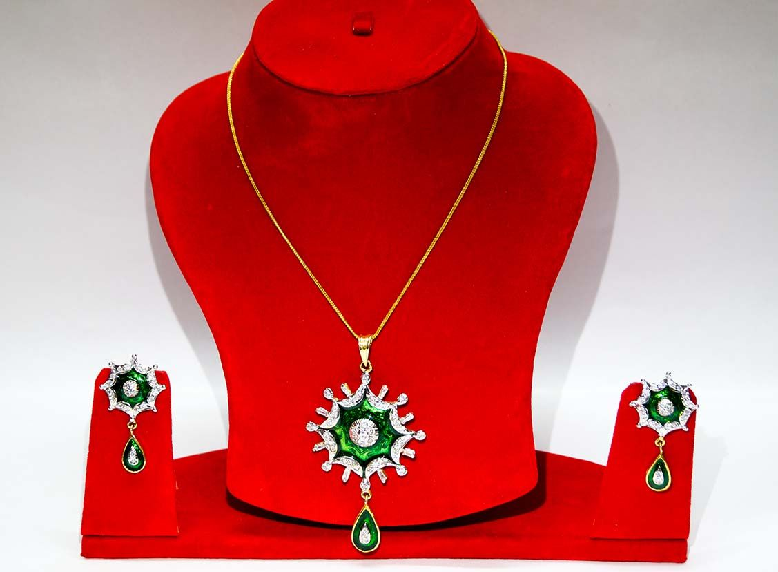 Green pendant american diamond design necklace set with earring