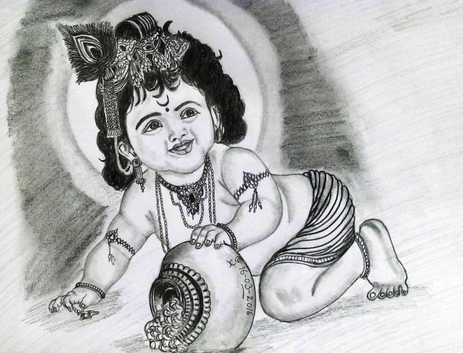 Pencil Drawing Lord Krishna Med Bilder