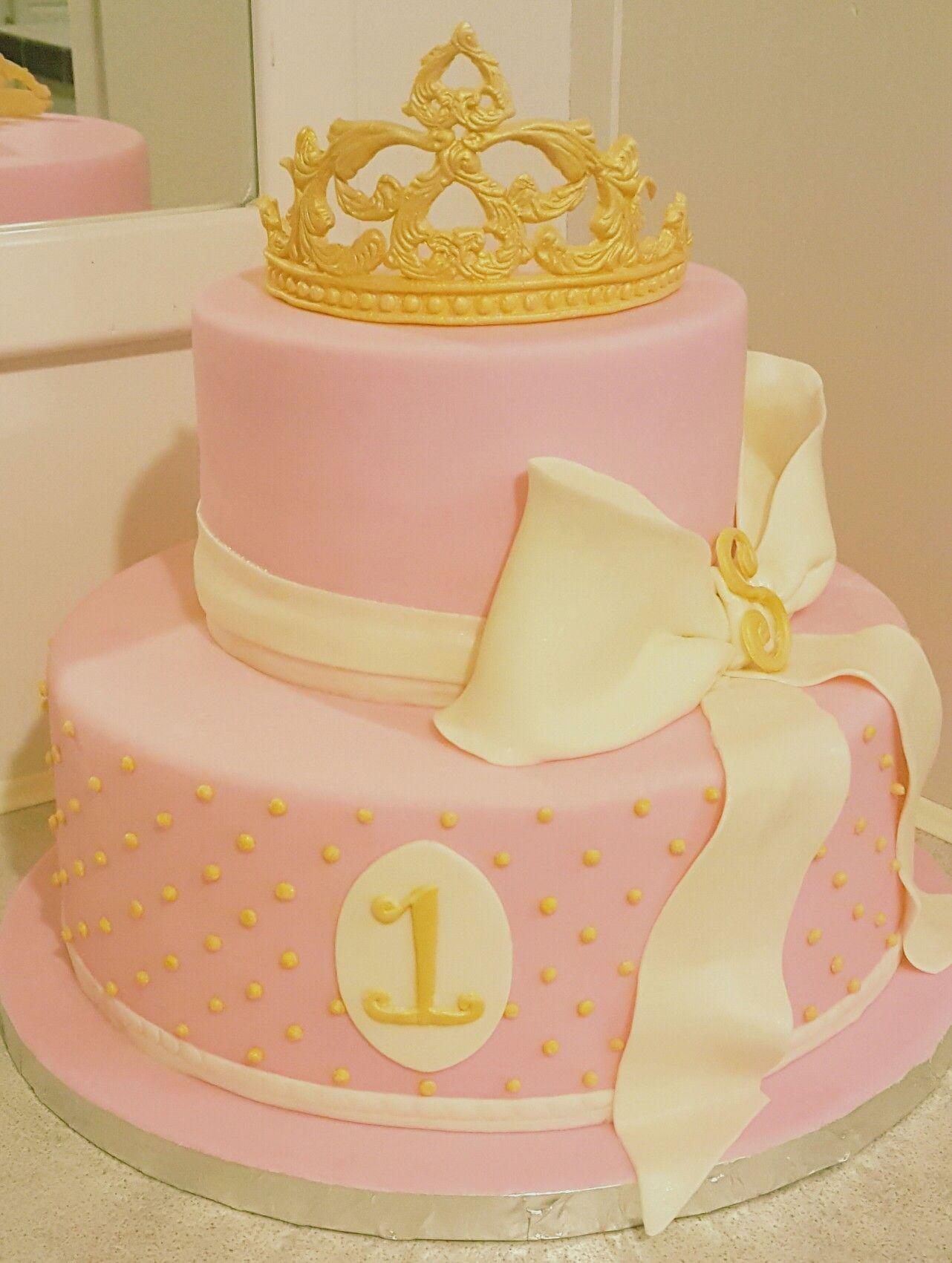 First birthday princess crown pink birthday cake My Cakes