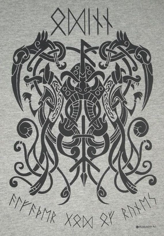Odinn odin knot rune viking god norse t shirt bl tatouages nordique et mythologie - Tatouage rune viking ...