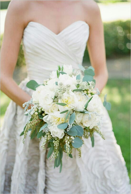 Glamorous Wedding Bouquet Arranged With White Florals & Several Varieties Of Green Eucalyptus