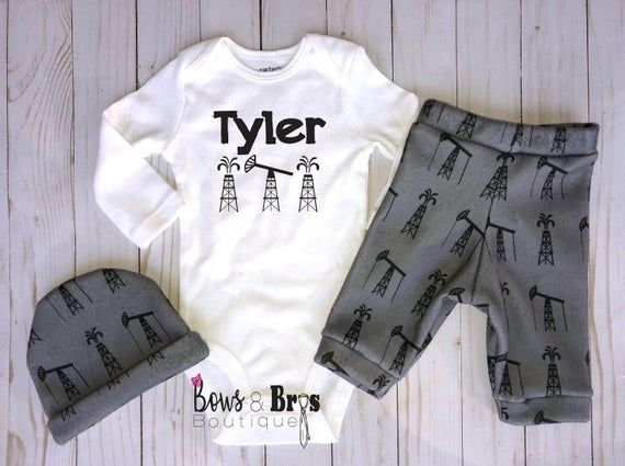 Photo of Custom Name Baby Boy Oil Field Outfit, Oil Rig Baby Boy Pants Hat and Bodysuit, Hospital Coming Home Outfit, Newborn Outfit up to 24 Months