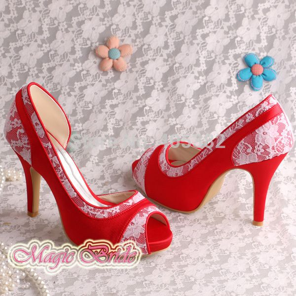 Custom Handmade Wholesale Ladies Shoes Wedding Party Red Lace High Heeled Free Shipping