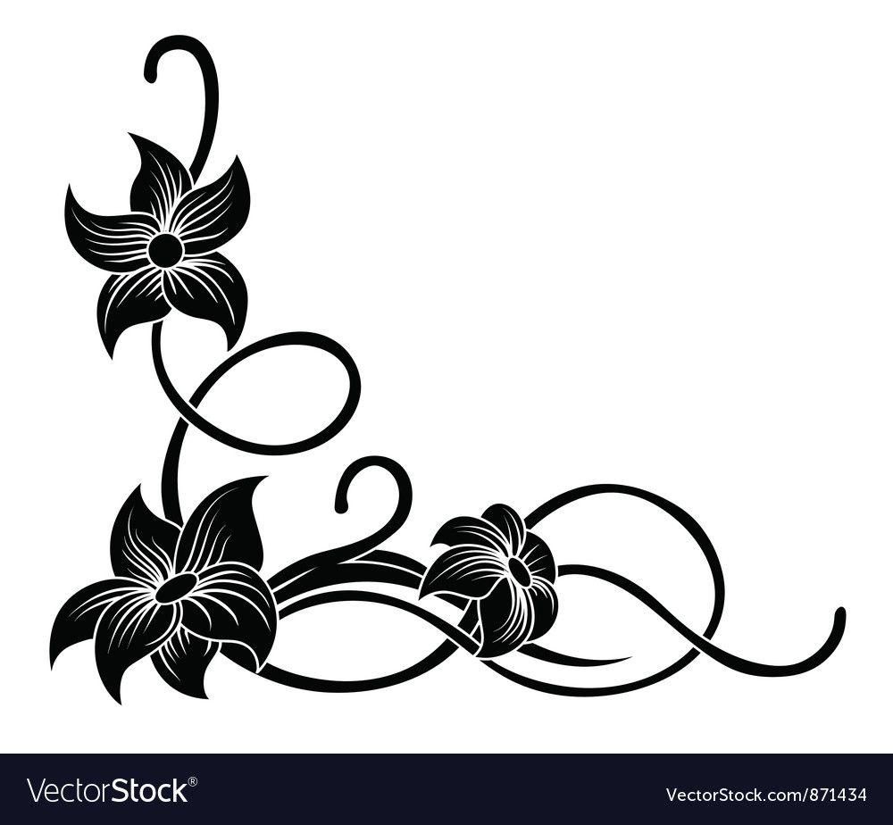 floral corner royalty free vector image vectorstock in 2020 vector flowers flower silhouette flower svg floral corner royalty free vector image