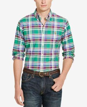 Polo Ralph Lauren Men's Long-Sleeve Slim-Fit Stretch-Oxford Shirt - Green/wine Multi XS