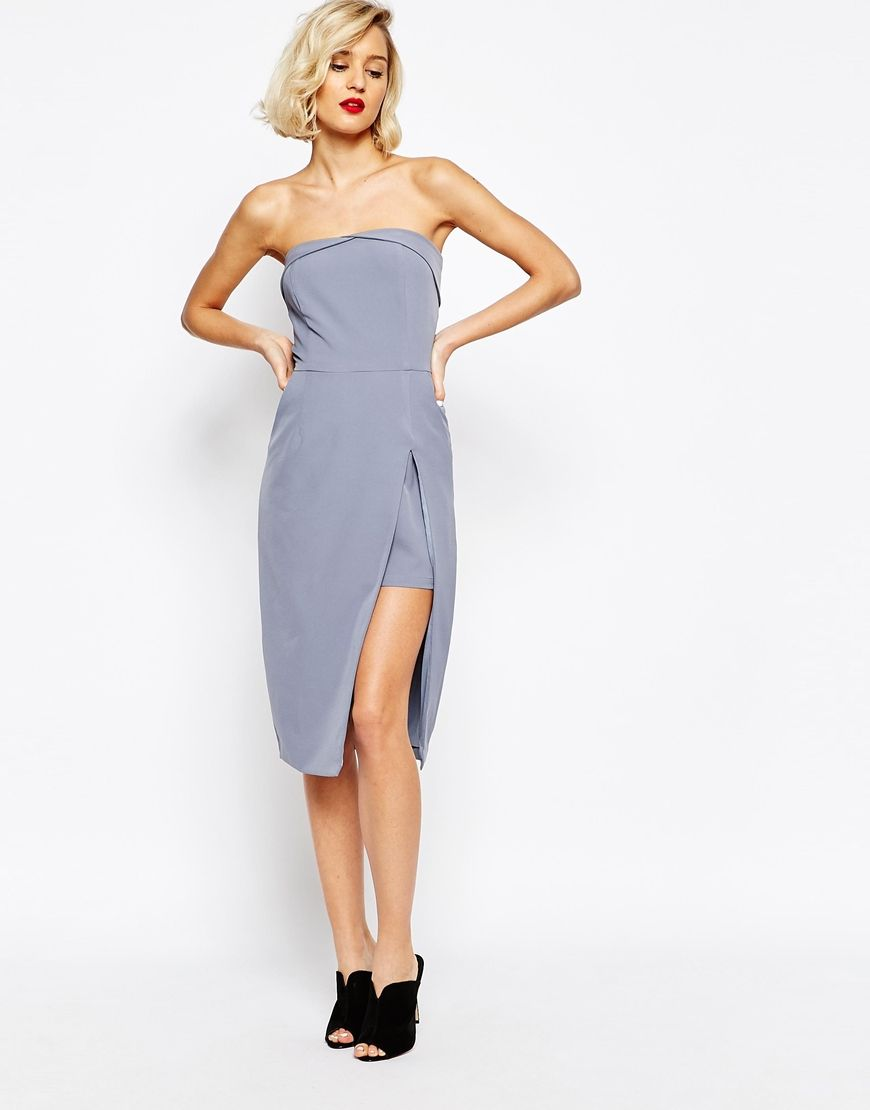 Image 4 of Lavish Alice Bandeau Body-Conscious Midi Dress with Neckline Detail