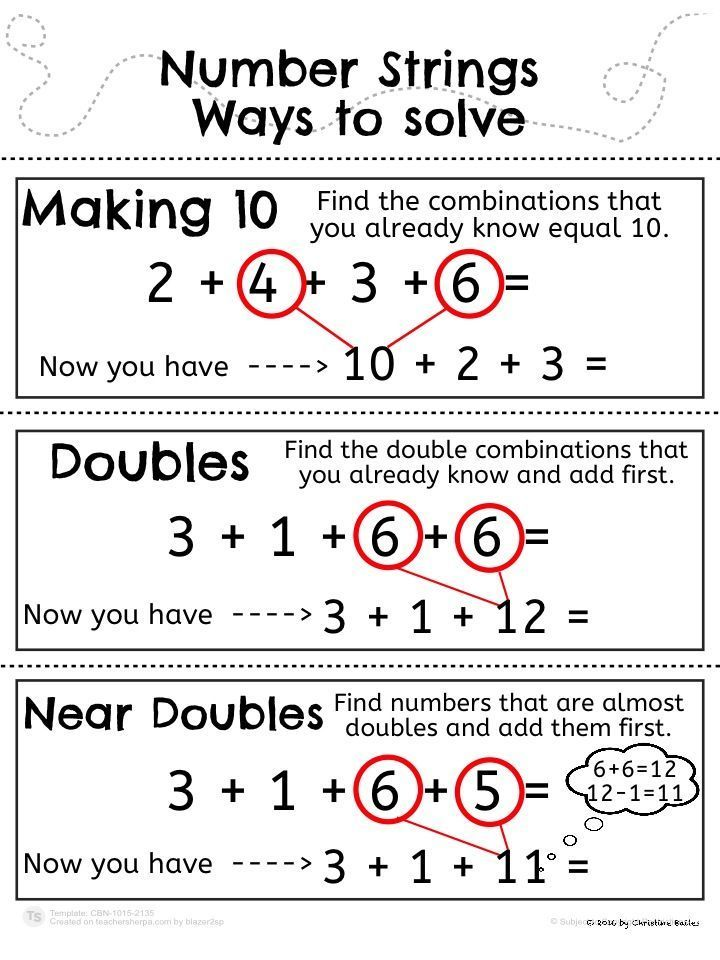 Number Strings Worksheets and Game Mental maths