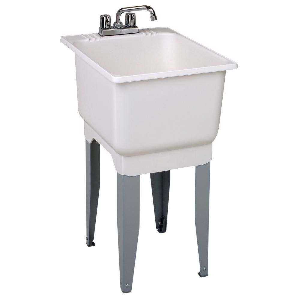 MUSTEE 18 in. x 23.5 in. Plastic Laundry Tub