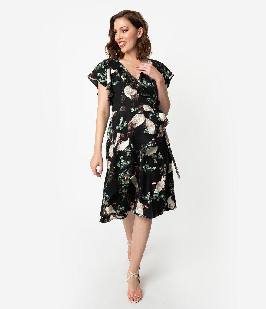 Unique Vintage 1940s Black Ivory Crane Print Luella Wrap Dress Dresses Unique Dresses Vintage Brand Clothing
