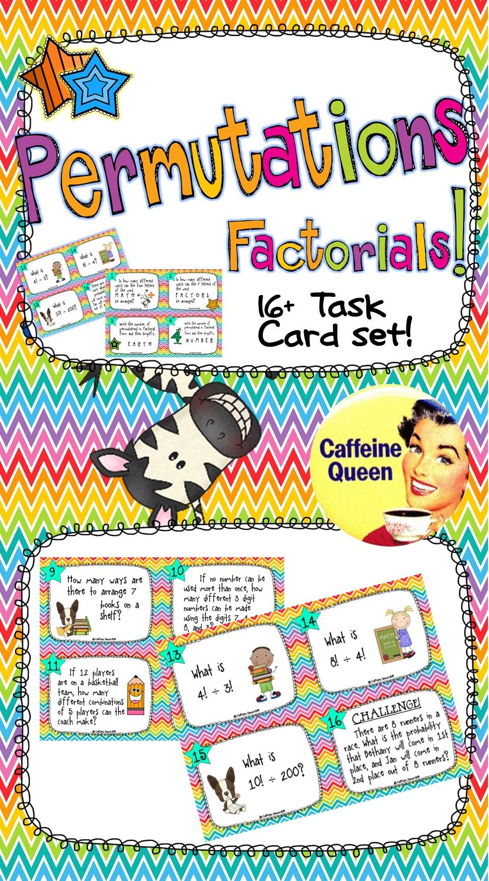 hight resolution of Permutations and Factorials! Task Card set to give students practice and  confidence. Blank task cards included…   Task cards