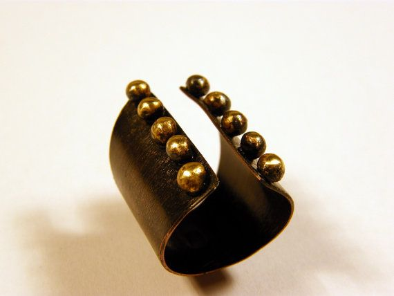 Pebbles .Golden pebbles ring dark brown copper by PazzarJewelry