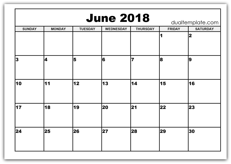 2018 June Calendar Template Printable USA UK June Calendar 2018