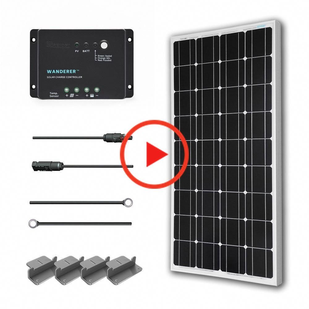 Renogy 100 Watt 12 Volt Monocrystalline Solar Starter Kit Black Solar Panel In 2020 Solar Kit Solar Panels Solar