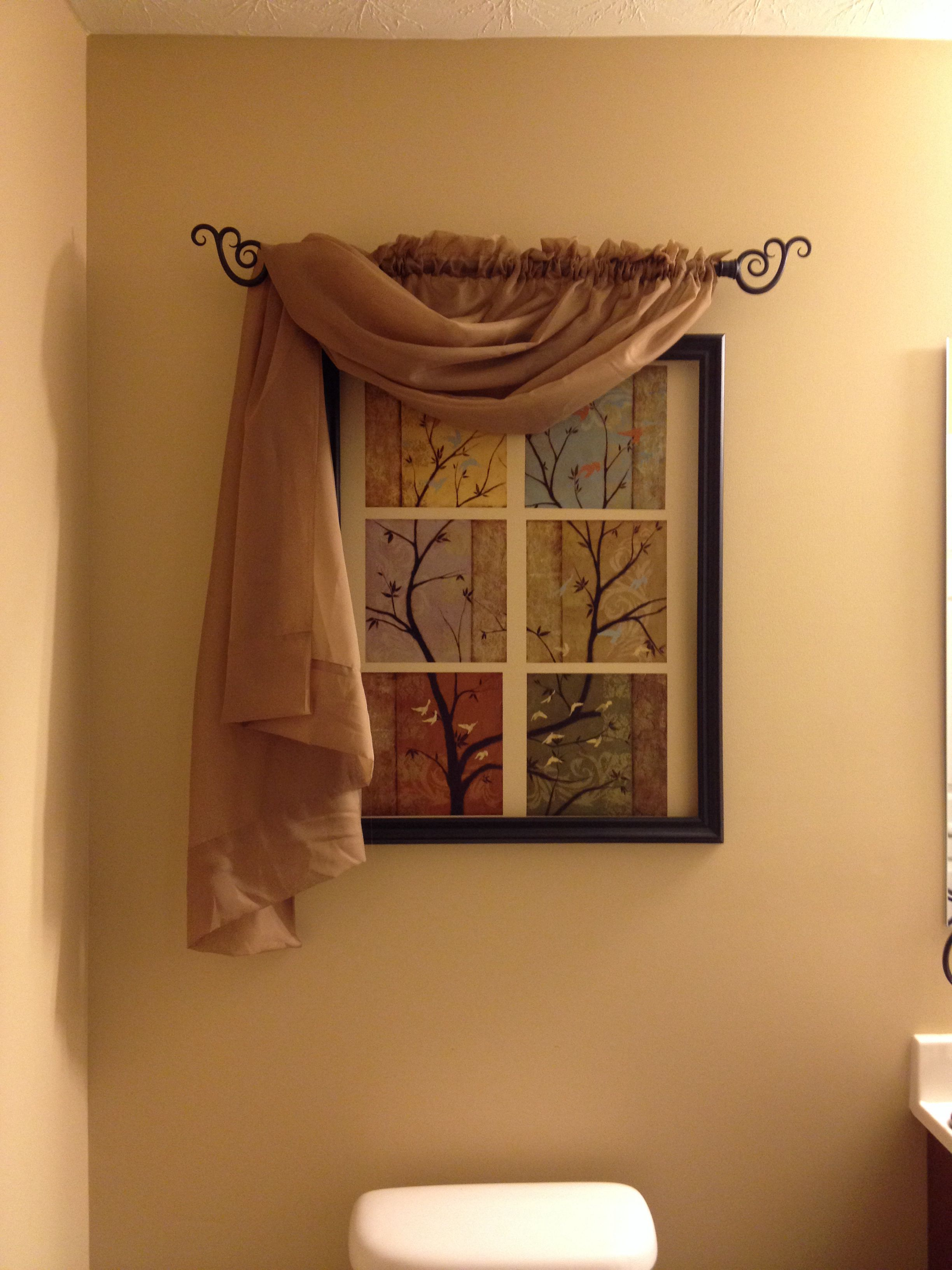 Faux window using frame, wall decals, curtain rod & panel ...