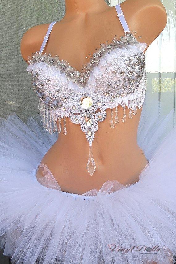 91c27cb96c Floral Diamond Ice Princess Rave Outfit - White Silver Bra and TuTu - Rave  Wear