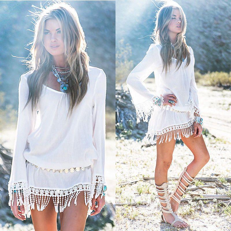 strandkleid tunika bluse im boho hippie style in wei mit fransen gr m online fashion store. Black Bedroom Furniture Sets. Home Design Ideas