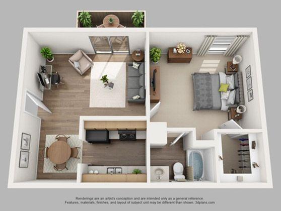 Bedroom 1 Bathroom 1 Sq Ft 700 Price Call Us Design De Apartamento Pequeno Projetos De Casas Simples Layout De Apartamento