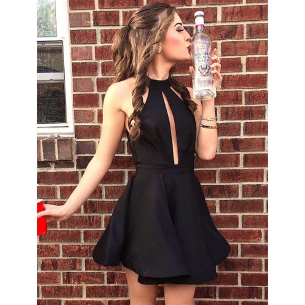 Halter aline sleeveless short black simple homecoming dresses