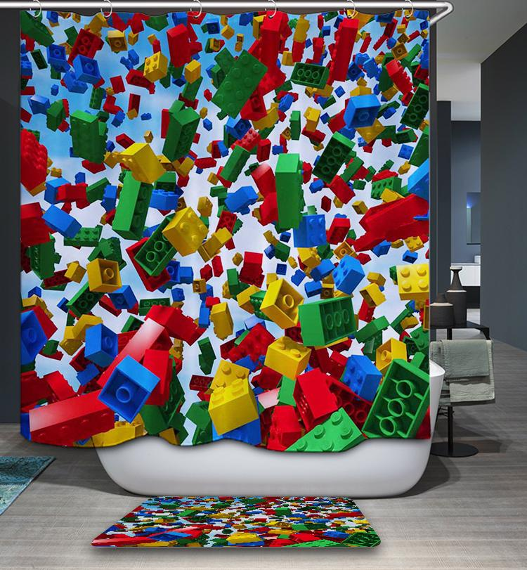 Cool Overwhelming Lego Building Block Shower Curtain Bathroom