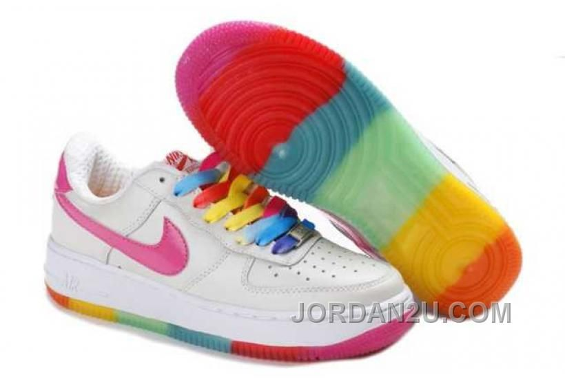 timeless design cc13f ad21f Nike Store. Nike Air Force 1 Low GS Womens Rainbow Outsole - White Pink