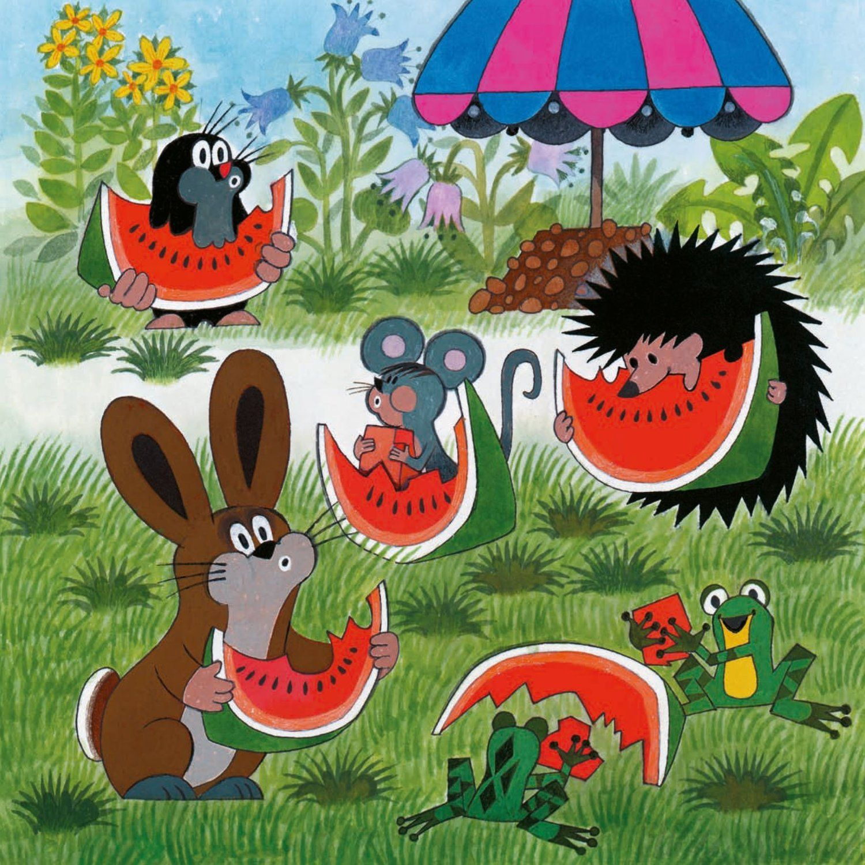 (2014-07) Muldvarpen spiser vandmelon sammen med haren, pindsvinet, musen og frøer