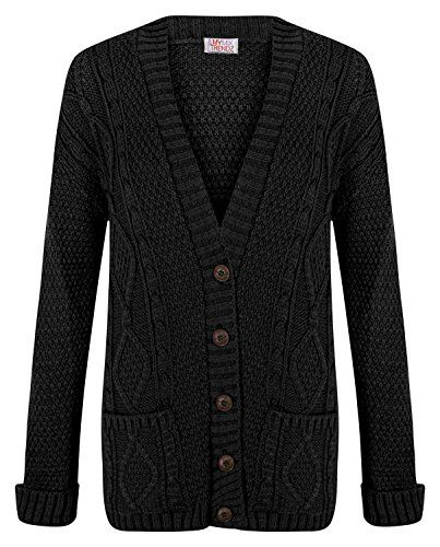 Ladies Cardigan Chunky Cable Knit Button Long Sleeves Women Grandad Plus Sizes
