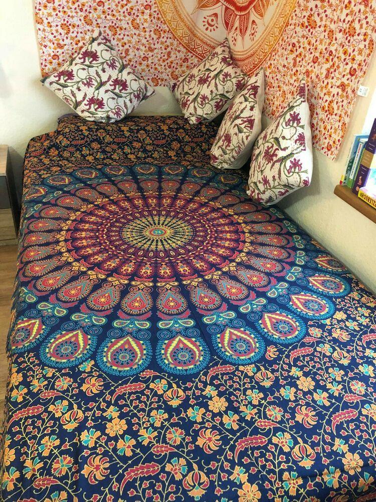 Mandala Uberwurf Wandbehang Baumwolle Yoga Deko Tuch Pfau Twin