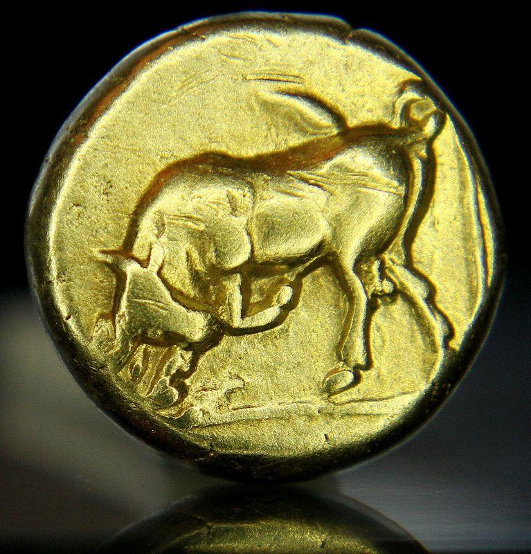 Bull.Persephone. Lesbos Mytilene. Very rare Greek Gold Coin.1/6 stater.Hecte