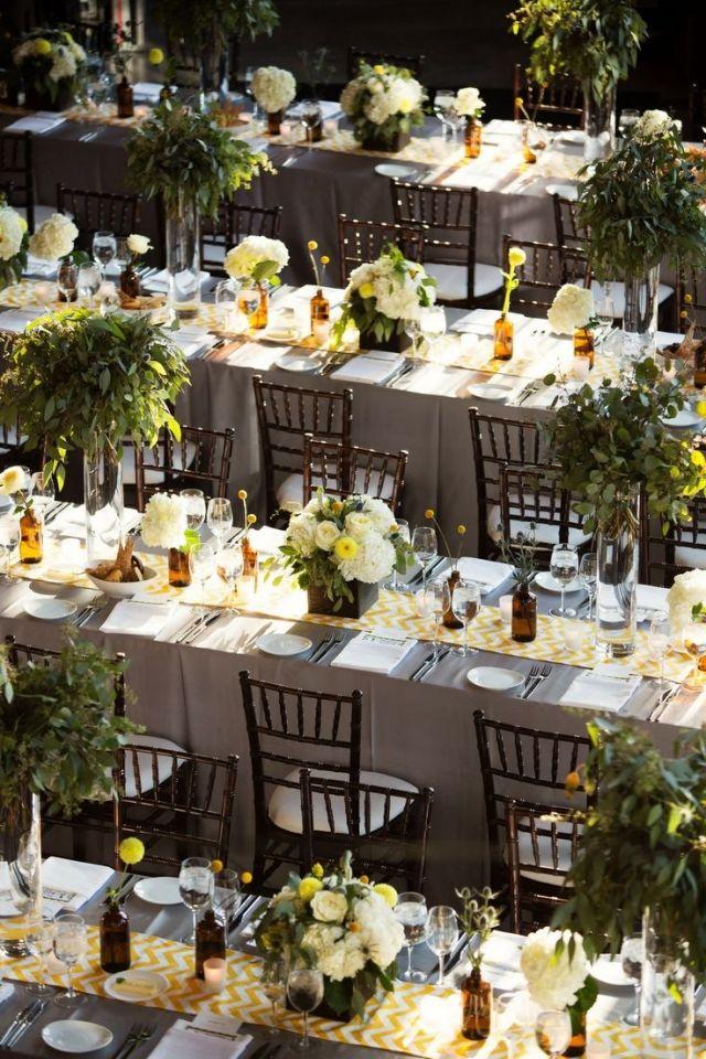 Garten Hochzeit Fruhling Tischdeko Gruen Gelb Lange Tische