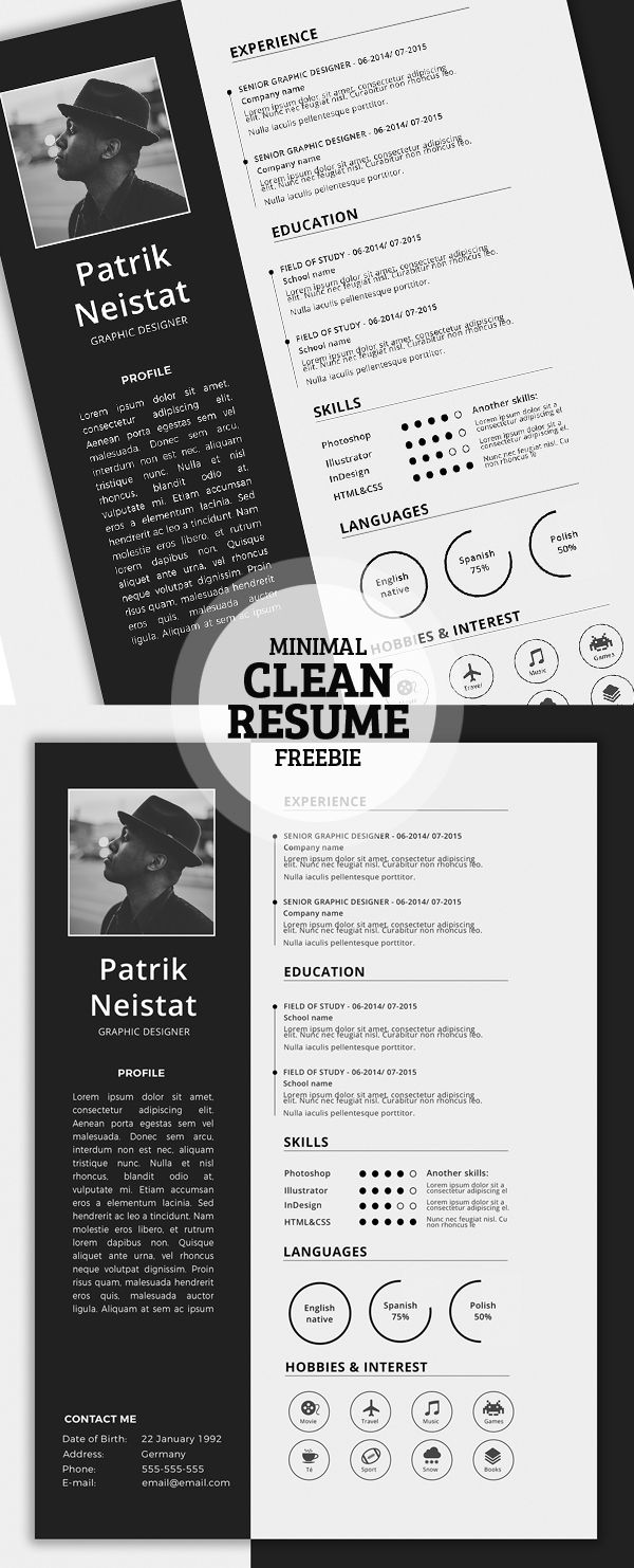 Free Simple Resume Template More | layout | Pinterest | Currículum ...