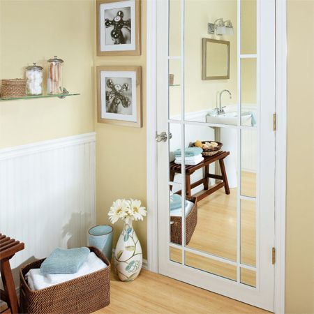 Adding A Mirror Panel To Your Bathroom Door Not Only Visually Enlarges The E It