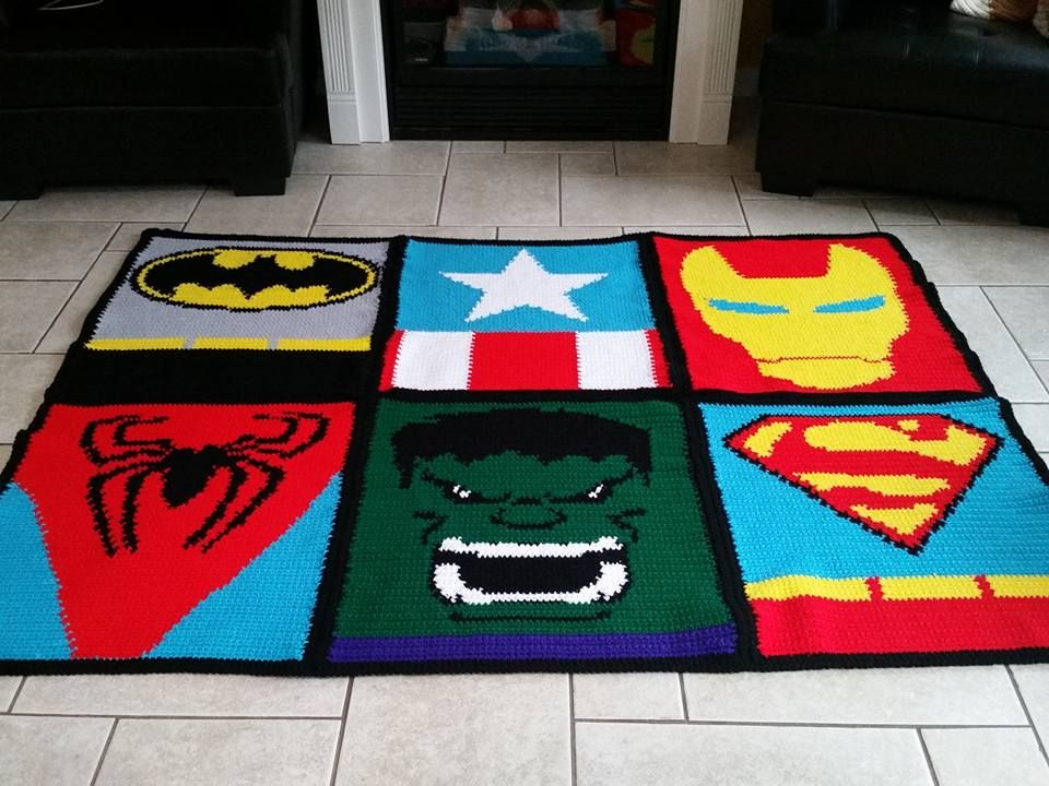 Crochet Super Hero Blanket (SC graph, pieced together and border ...