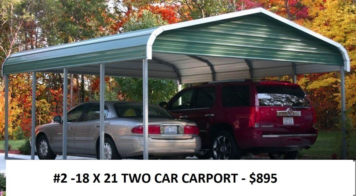 18 X 45 RV CARPORT + 12 X 25 GARAGE + 12 X 20 CARPORT