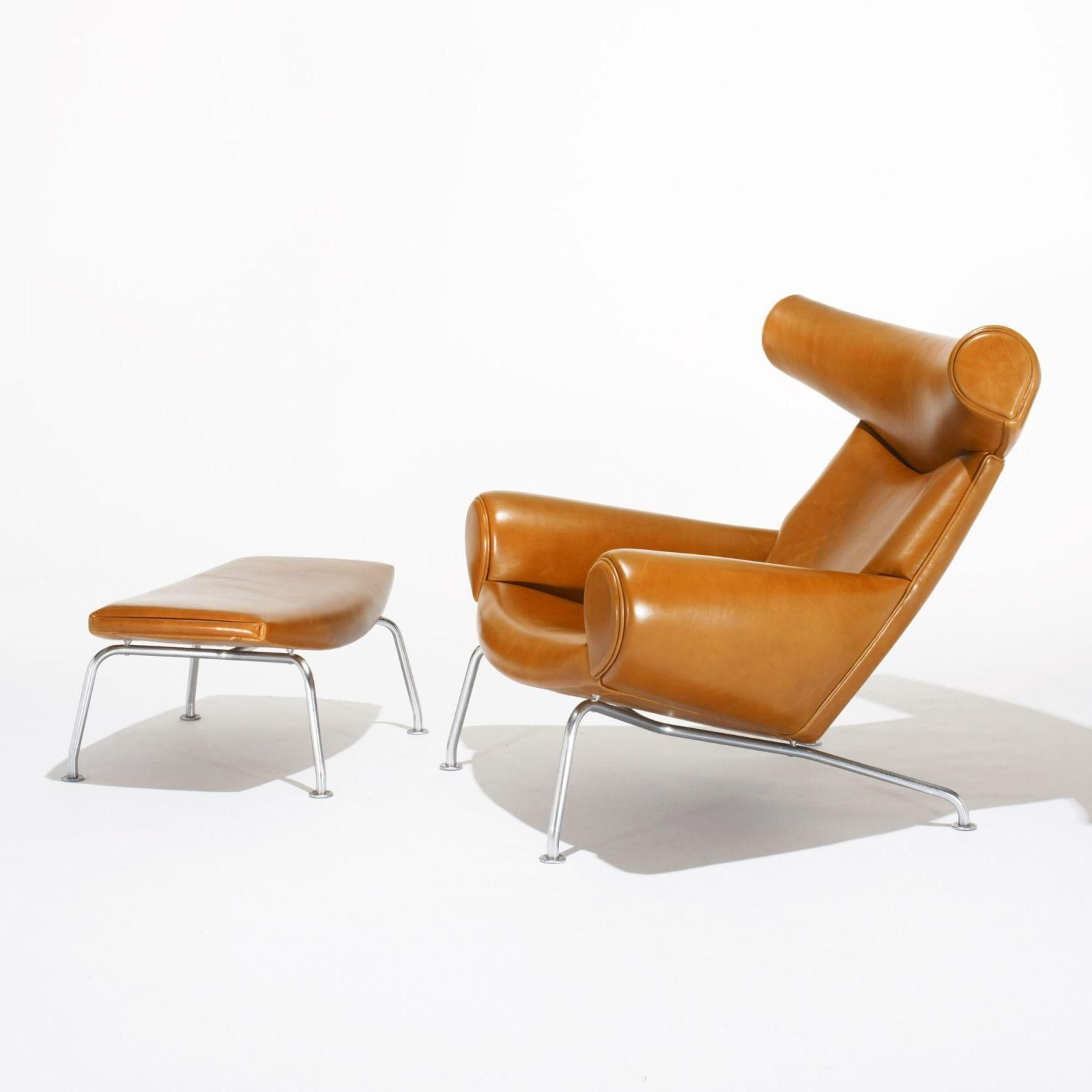 Hans Wegner Ox Chair, Model 46 And Ottoman, Model 49
