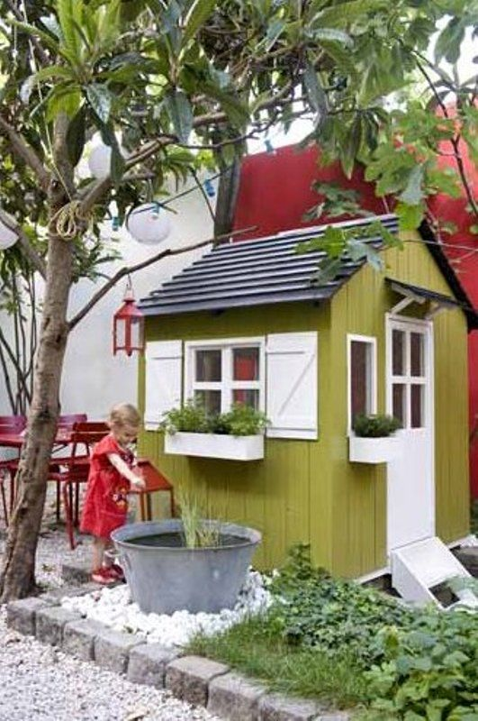 8 new ideas for kids outdoor playhouses kidsomania for Design a shed cubbies