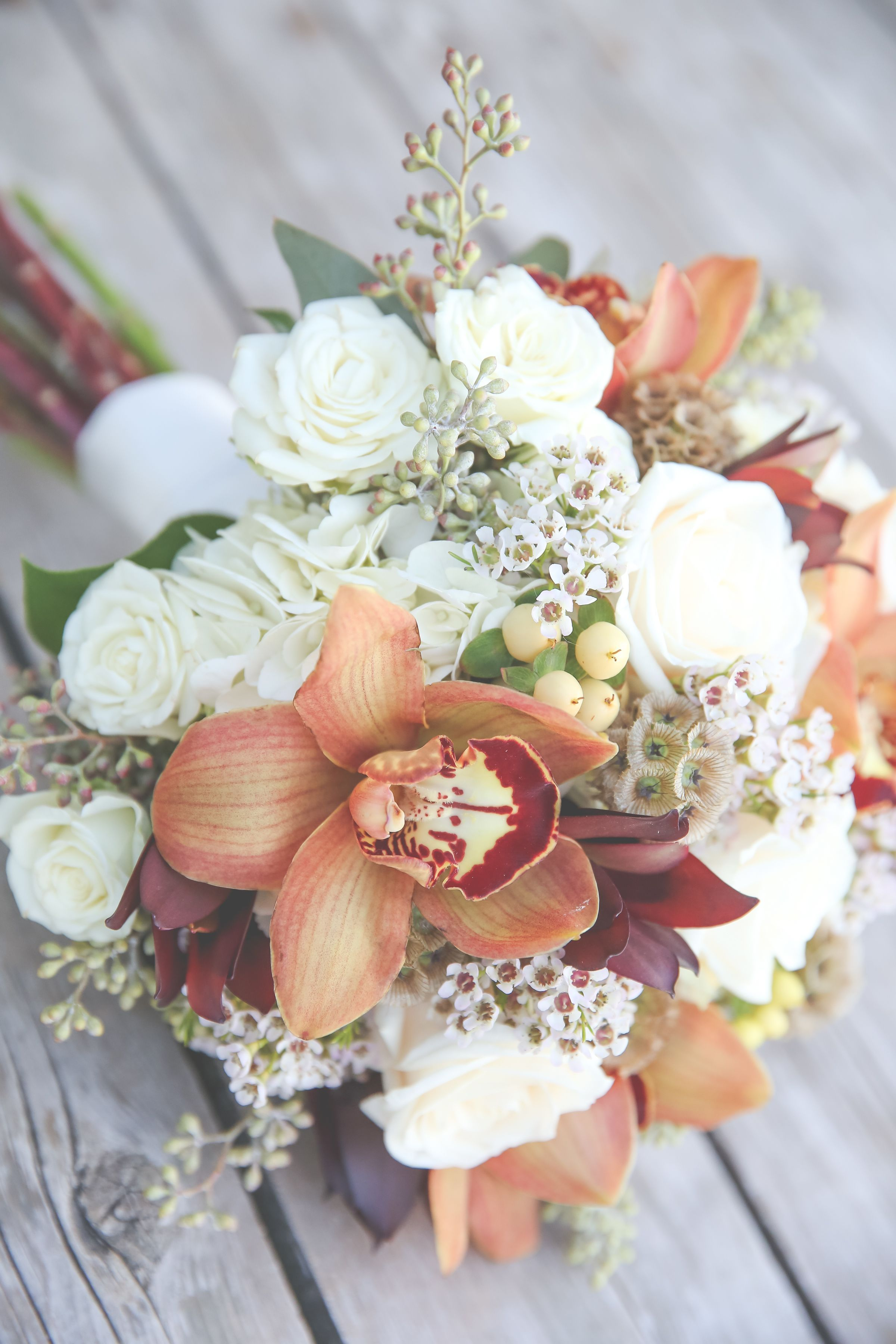 Ivory, Orange and Red Bridal Bouquet (With images) Red