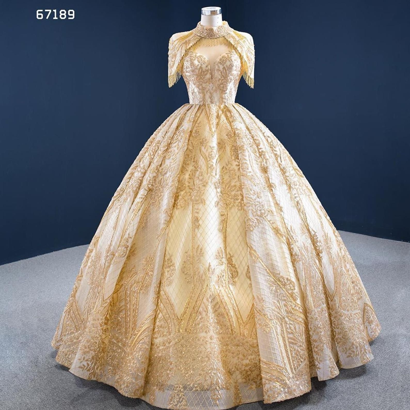 Freya Beaded Gold Tassel High Neck Ball Gown Weddi