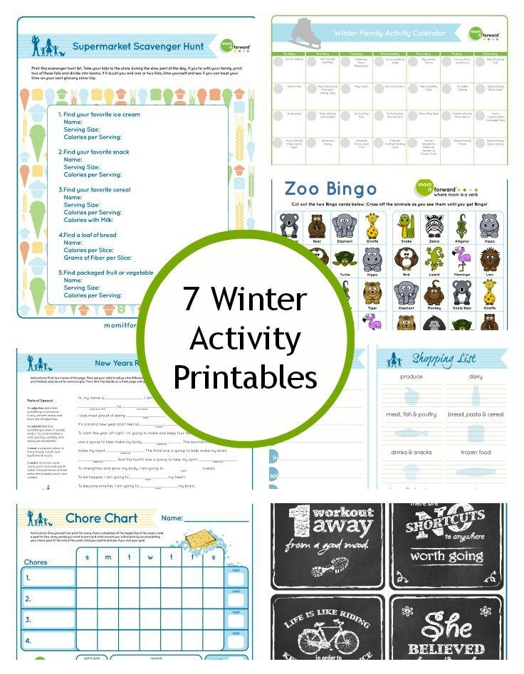 7 Free Winter Activity Printables Winter activities
