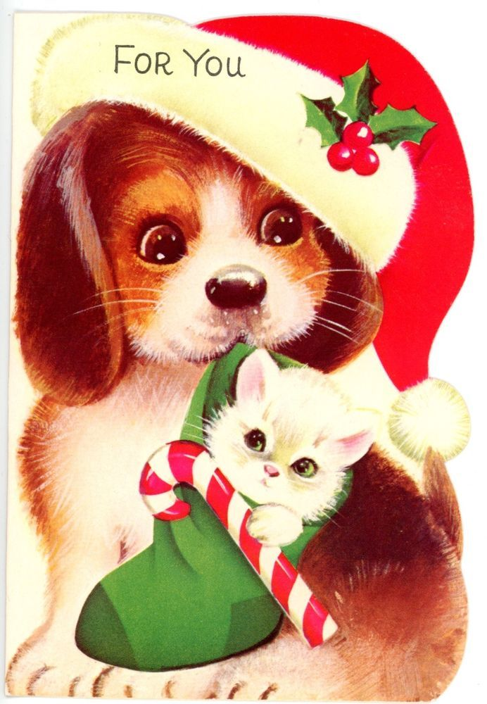 Vintage Norcross Die Cut Christmas Greeting Card Dog and Cat 843